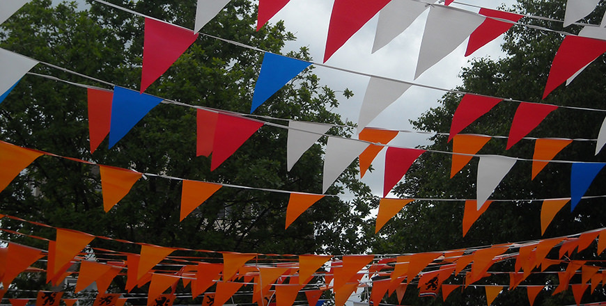 Bunting of the streets of the Dutch Capital to celebrate the King's Birthday