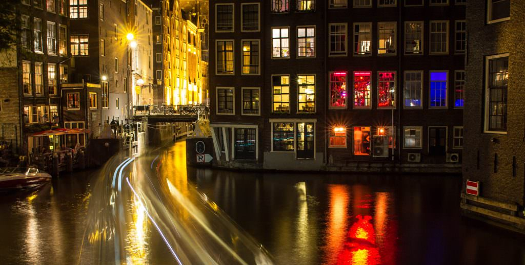 Canals of Amsterdam at night time