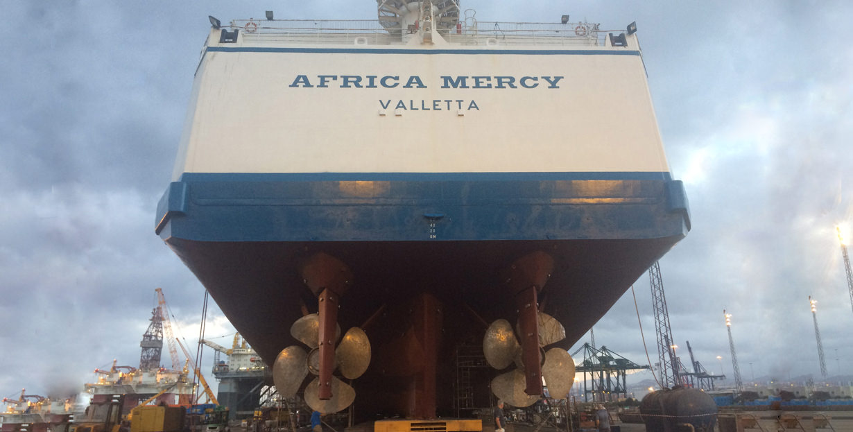 Mercy Ship Africa Mercy in dry dock for essential maintenance